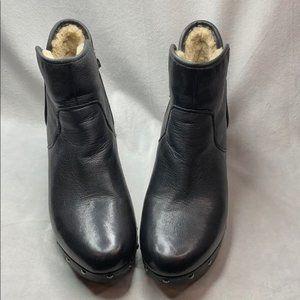 UGG Cam II Black leather short zip heeled boots
